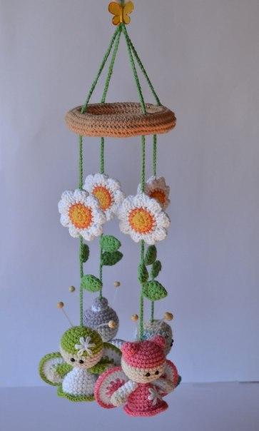 Вязаный мобиль с бабочками. Идея для вдохновения…. (9 фото) - картинка