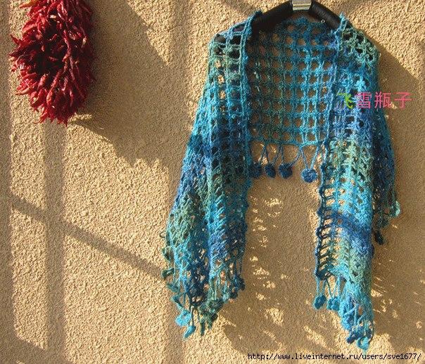 Ажурный шарф крючком. Схема (3 фото) - картинка