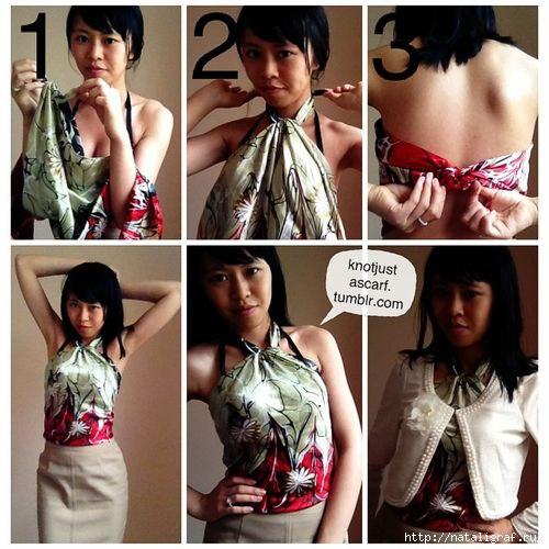 Платок как блузка или топ (7 фото)