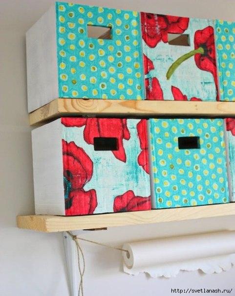 Как сделать ящики для хранения из старых картонных коробок… (10 фото) - картинка