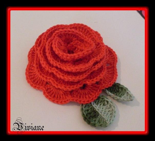 Вязаная роза (6 фото) - картинка