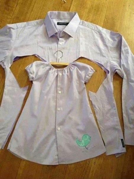 Детское платье из мужской рубашки (2 фото) - картинка