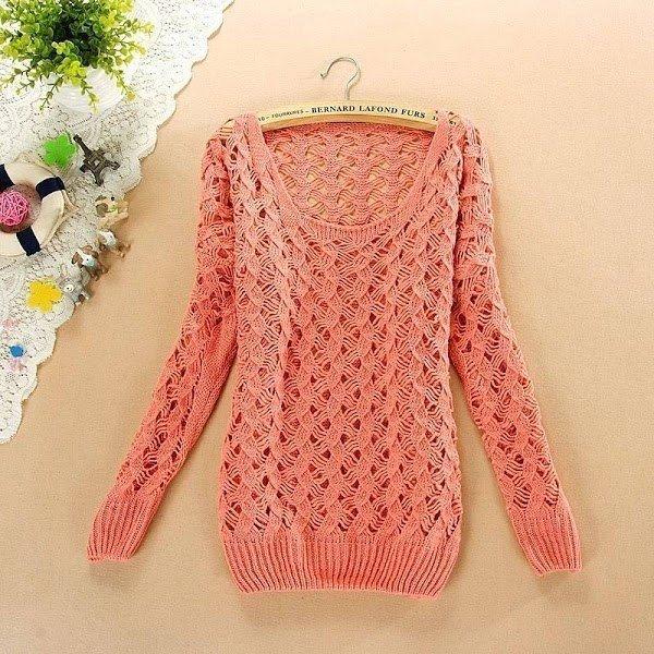 Вяжем спицами стильный ажурный свитер (6 фото) - картинка