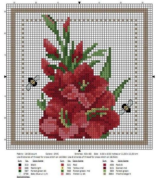 Цветочная вышивка крестиком (10 фото) - картинка