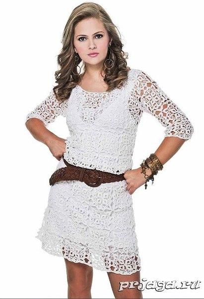Платье, вязанное крючком из мотивов (2 фото) - картинка