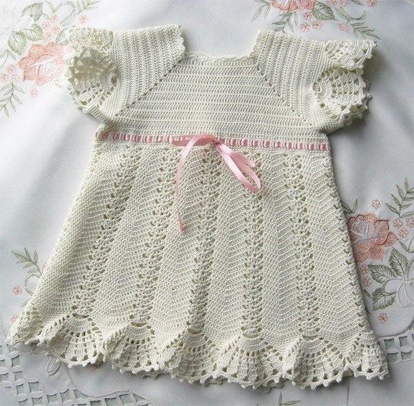 Платье для малышки, вязанное крючком (10 фото) - картинка