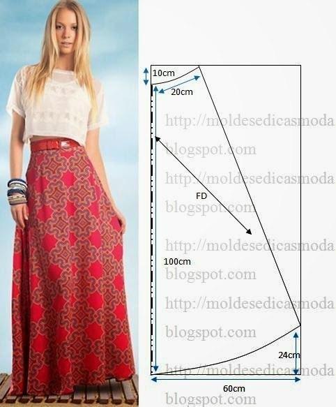 Выкройки юбки длинных