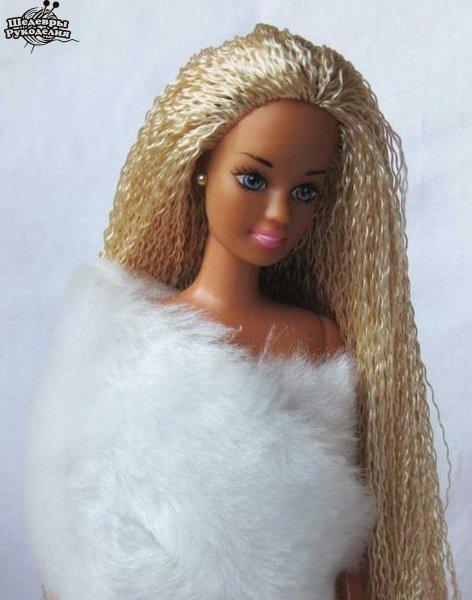Меняем кукле Барби волосы. (6 фото) - картинка