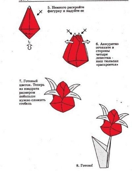 Бумажный тюльпан своими руками