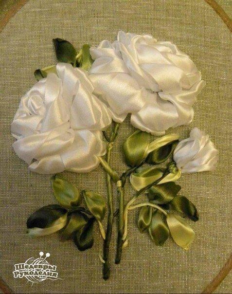 Вышивка лентами. Розы. (9 фото) - картинка