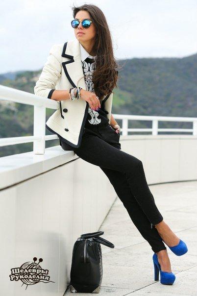 Узкие брюки в джинсовом стиле (7 фото)