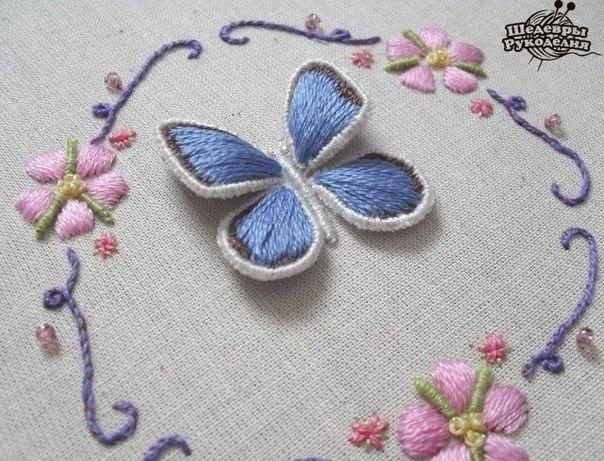 Объемная вышивка. Как вышить крылья бабочки… (10 фото) - картинка
