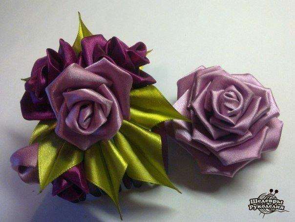 Роза в технике канзаши (6 фото) - картинка