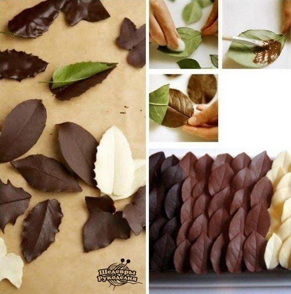 Делаем листья для декора десертов (1 фото) - картинка