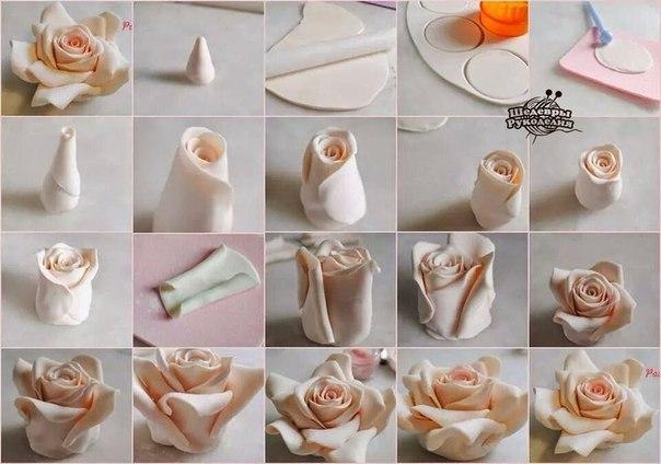 Роза из полимерной глины. (1 фото) - картинка