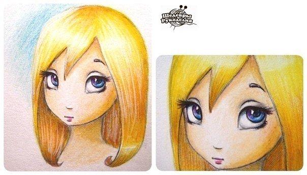 Рисуем мультяшную девочку цветными карандашами… (5 фото) - картинка