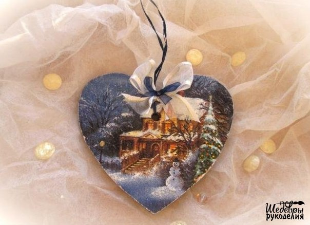 Интерьерная подвеска Зимний вечер декупаж… (9 фото) - картинка