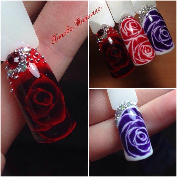 Розы по мокрому на ногтях