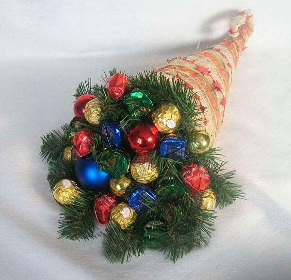 Новогодние букеты из конфет своими руками фото