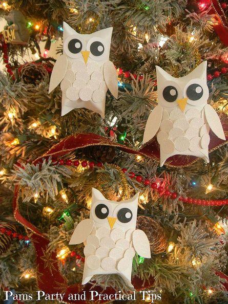 Новогодние совы из бумаги.