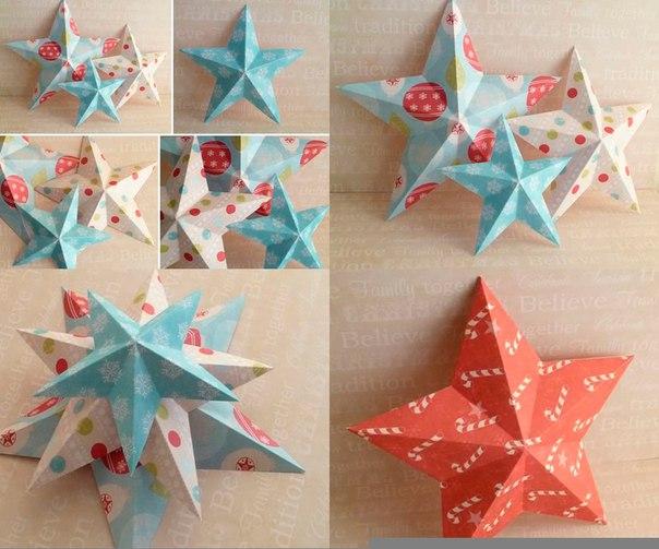 Новогодние звезды из бумаги