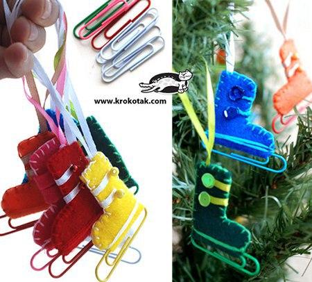 Коньки из фетра. Новогодний сувенир. (3 фото) - картинка