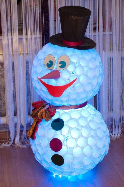 Снеговик из стаканчик фото