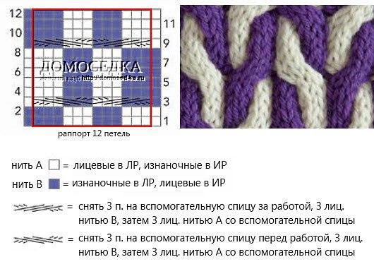 Схемы вязания снуда спицами два цвета
