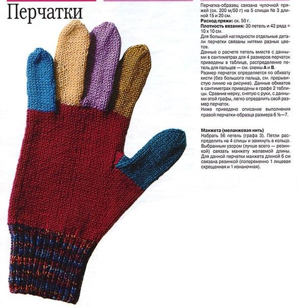 Схема вязания спицами детских перчаток 10