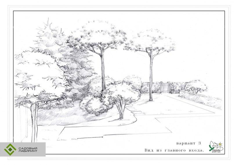 Ландшафтный дизайн рисунок карандашом