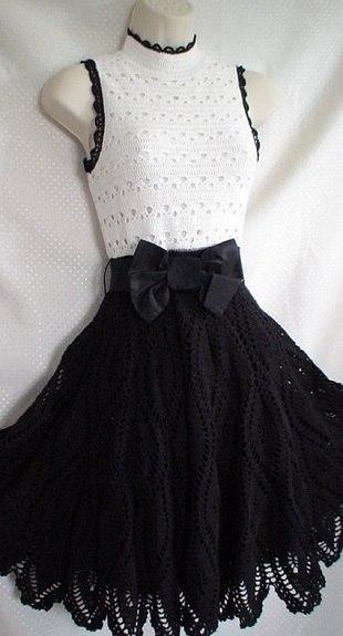Нарядное черно-белое платье крючком.. (4 фото) - картинка