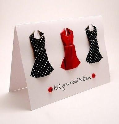 Открытки с платьями оригами (5 фото)
