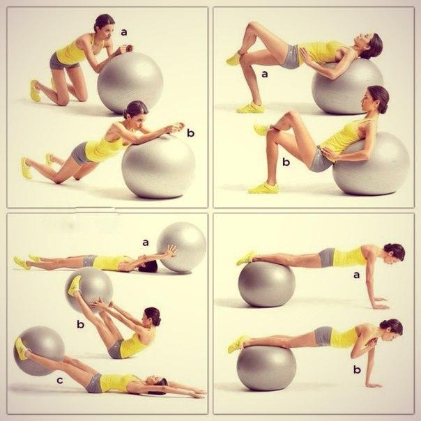 Упражнения на фитболе предполагают статические и аэробные занятия.