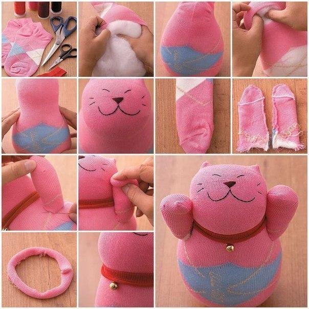 """Котик из носка """"Цветочек"""", игрушки своими руками с выкройками"""