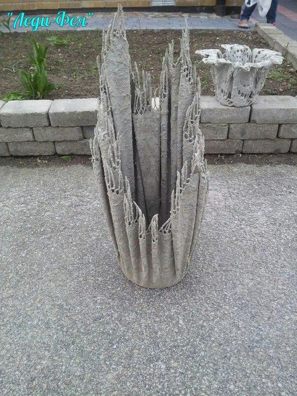 Вазоны из цемента и ткани своими руками для сада