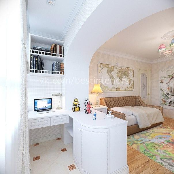 Детская комната в классическом стиле с вместительным шкафом и рабочим местом на балконе… (5 фото) - картинка