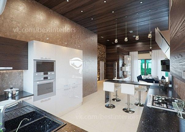 кухня — гостиная в загородном доме (8 фото) - картинка