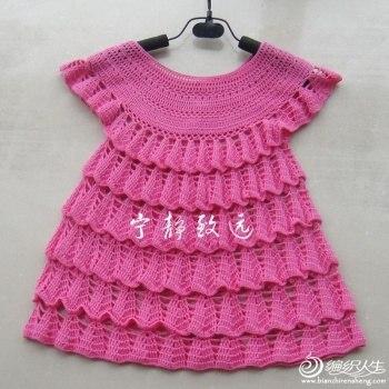 Теплое платье крючком для девочки 1 год