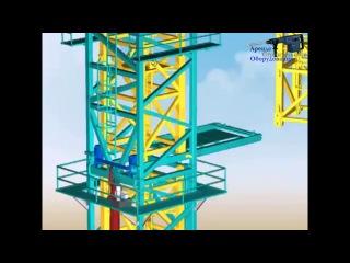 Анимация монтажа башенного крана KCT 7016 C.
