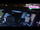 Marilyn Manson & Lindsay Usich give Oral greetings to Paparazzi departing Chateau Marmont