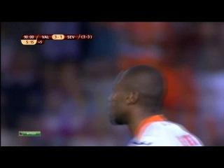 Лига Европы 2013/14,полуфинал,ответный матч. Валенсия - Севилья - 3:1.Сумасшедшая концовка матча!