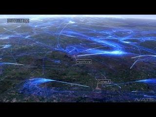 Визуализация авиатрафика над Европой за 24часа.