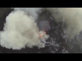 Извержение вулкана, снятое с квадрокоптера