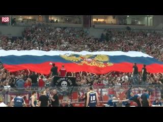 Болельщики Сербской «ЦРВЕНЫ ЗВЕЗДЫ» Встретили Украинский «БУДИВЕЛЬНИК» Россиским Флагом.
