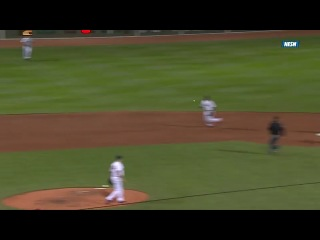 5/7/14: Despite his momentum pulling him in the wrong direction, Dustin Pedroia stays on the bag and fires to first for a 5-4-3 double play