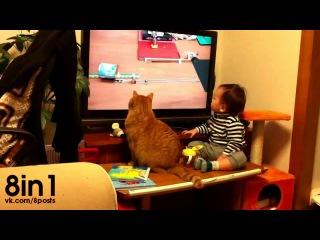 Кот и ребёнок смотрят телевизор и забавно одновременно поворачивают головой к маме / baby and cat watching a rube goldberg machine has the perfect ending