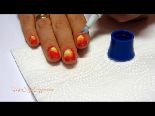 Летний Nail Art ❤ Закат - Пальмы рисуем кистью - Градиент от MixStyleCappuccino
