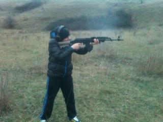 Стрельба из АКМ с ДТК моей конструкции