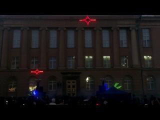 Лазерное шоу на фасаде Челябинской областной библиотеки (Публичка)