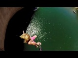 Cliff Slip and Slide! 50 Feet!Прыжки с отвесной скалы на слип энд сайде!Высота 1